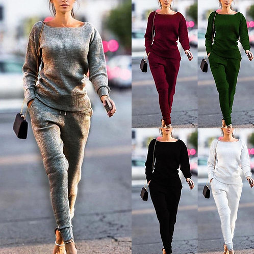 2020 New Women Yoga Set Thin Jogger Sets Fashion Autumn Tracksuit Casual Daily S