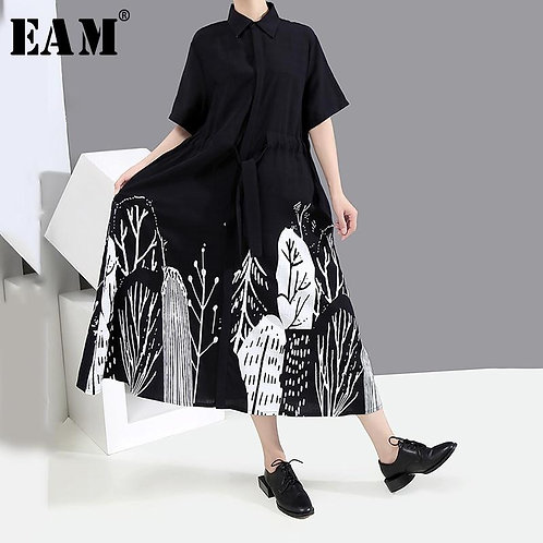 [EAM] Women Black Pattern Printed Big Size Shirt Dress New Lapel Half Sleeve Loo