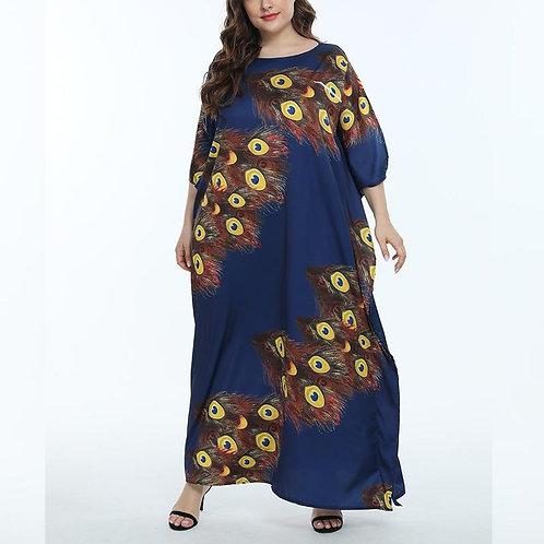 Women Loose Printed Dresses O Neck Batwing Three Quarter Sleeve Blue African Fem