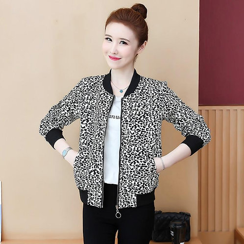 2020 Spring Autumn Women's Jacket New Casual Loose Short Leopard Print Jacket Co