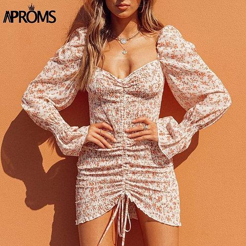 Aproms Elegant Sweet Purple Floral Print Chiffon Dress Women Spring Sexy Off Sho
