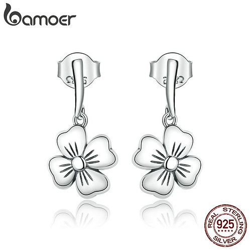 bamoer Genuine 925 Sterling Silver Lucky Clover Stud Earrings for Women silver F
