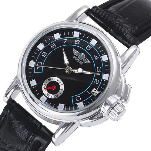 WINNER Mechanical Women Watch Hand-Winding Black Leather Wristwatch Business Aut