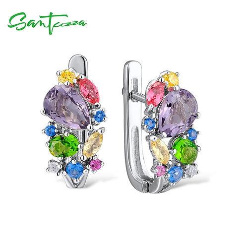 SANTUZZA Silver Earrings For Women 925 Sterling Silver Stud Earrings Silver 925