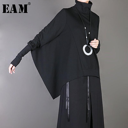 [EAM] 2020 New Spring Summer High Collar Brief Long Batwing Sleeve Black Loose B