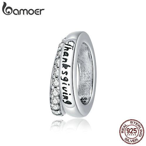 bamoer Warm Thanksgiving Charm for Original Women Bracelet 925 Sterling Silver B
