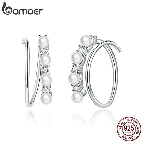 bamoer Simple Geometry CZ platinum Stud Earrings for Women 925 Sterling Silver E
