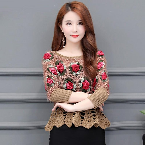 Women's Knitted Sweaters Ruffles Hollow Rose Embroidery Long Sleeve O-neck Pullo