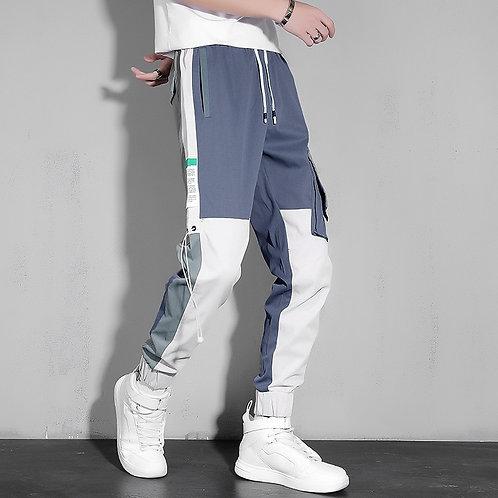 2021 Streetwear Spring Autumn Hip Hop Black Blue Patchwork Harem Pants