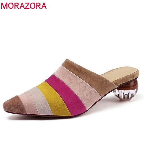MORAZORA 2020 new arrival kid suede leather women pumps mixed colors slip on mul