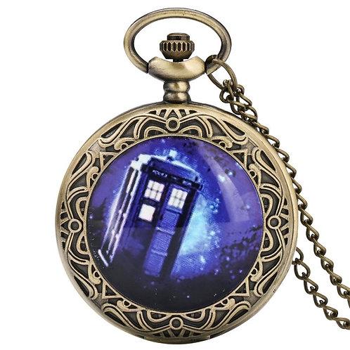 Doctor Who Theme Quartz Pocket Watch Bronze Sweater Chain Necklace Pendant Antiq