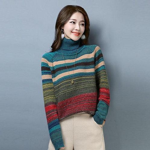 2020 Women Autumn Winter Turtleneck Long-sleeved Sweater Pullover New Korean Sty