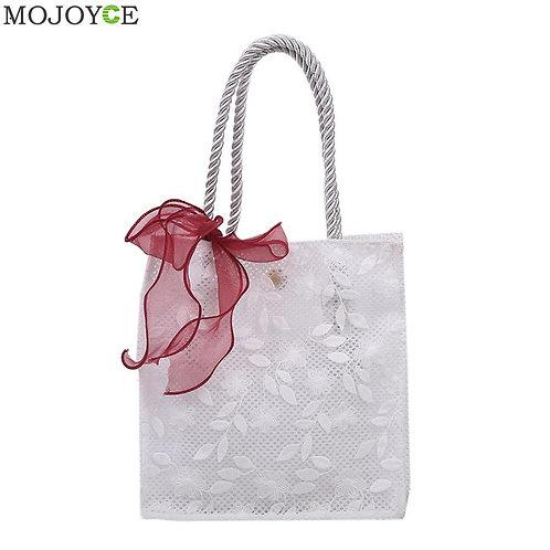 2pcs Elegant Lace Mesh Handbag Totes Nylon Female Bow Beach Casual Travel Should