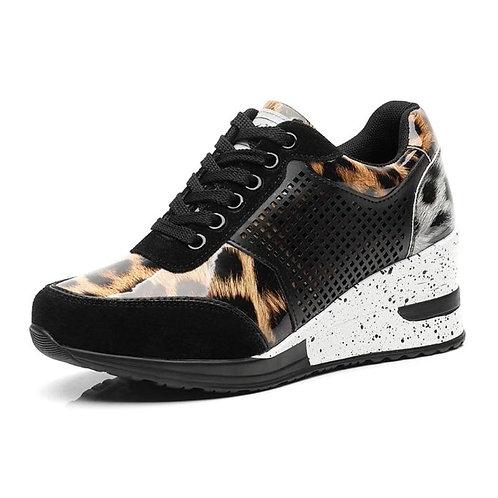 2019 Women Increase Shoes Big Size 35-42 Walking Sneakers Black Gold Sport Shoes
