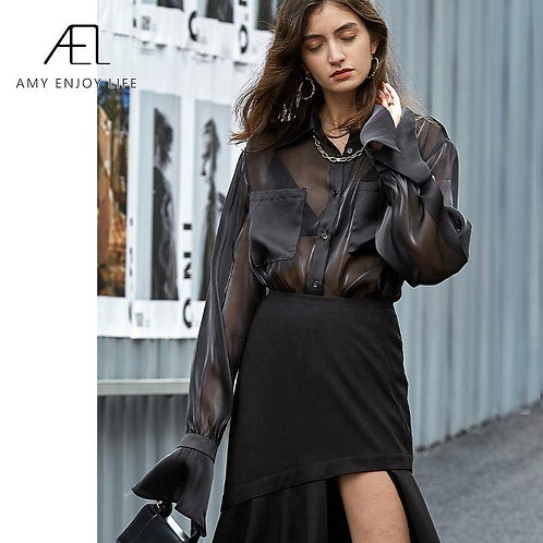 AEL black organza blouse long sleeve Retro top women Elegant Loose Womens Tops a