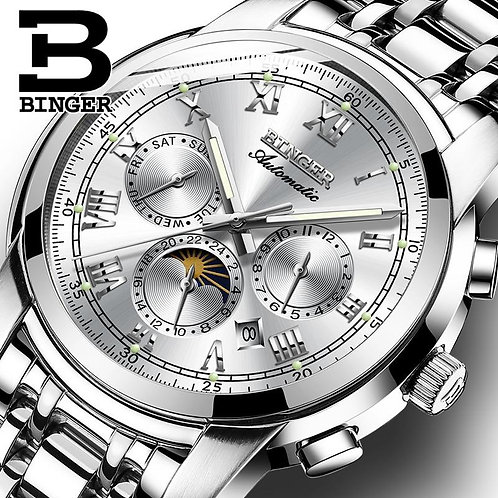 Brand Watches Automatic Movement BINGER Men Mechanical Watch Business Fashion Cl
