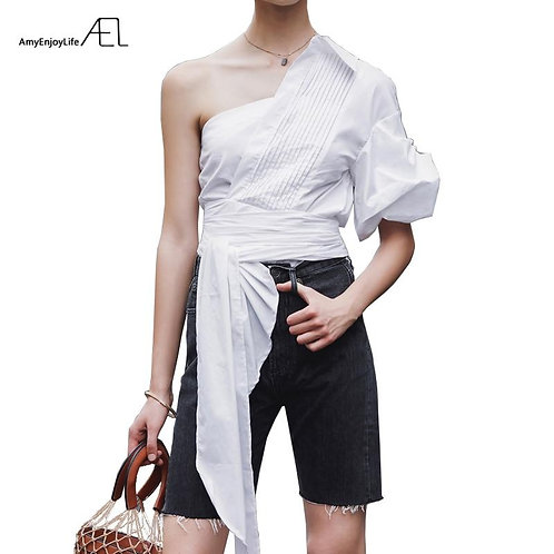 AEL White One Shoulder Blouse Bow Knot Summer Blouse Shirt 2019 Women Femme One
