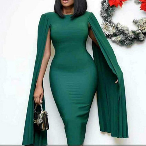 Women Bodycon Dresses Clock Sleeves Pleated Green Christmas Party Celebrate Even