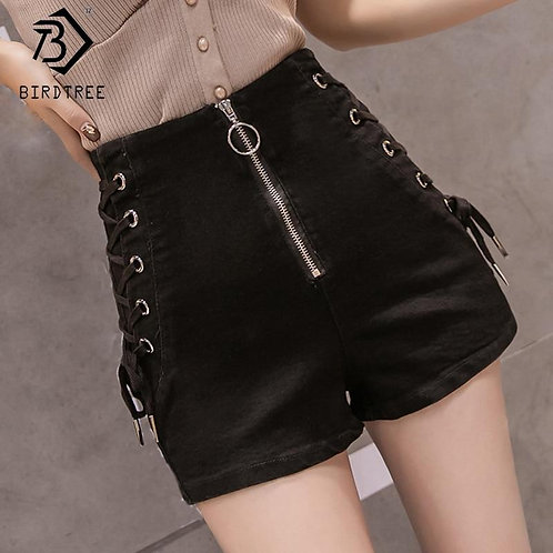 2020 Spring And Summer New Women's Casual Denim Zipper Fly Cross Ribbons Shorts