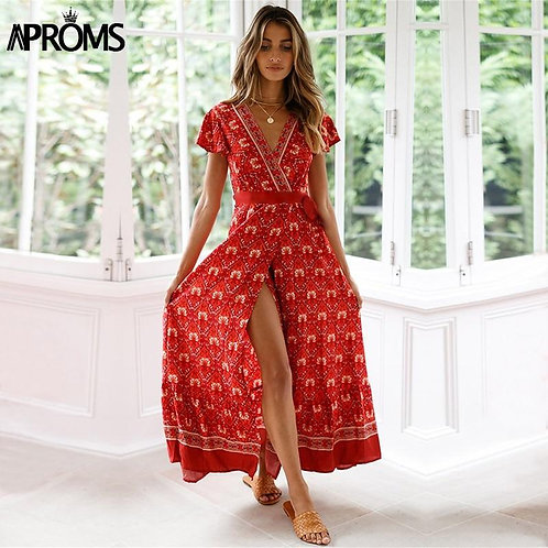 Aproms Bohemian Floral Print Maxi Dress Women Summer Casual V-neck Side Split Lo