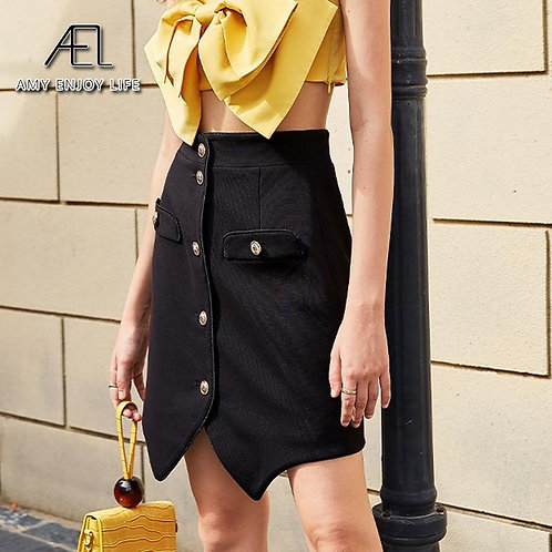 AEL black Pencil Skirt High Waist Women 2020 Summer New Arrivals single-breasted