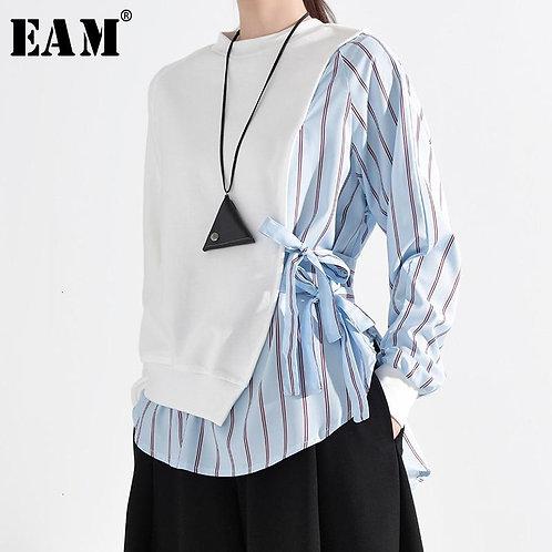 [EAM] Loose Fit Blue Striped Split Bandage Sweatshirt New Round Neck Long Sleeve