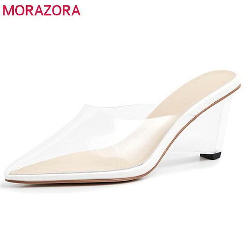 MORAZORA 2020 unique women pumps pointed toe pvc Transparent ladies shoes high h