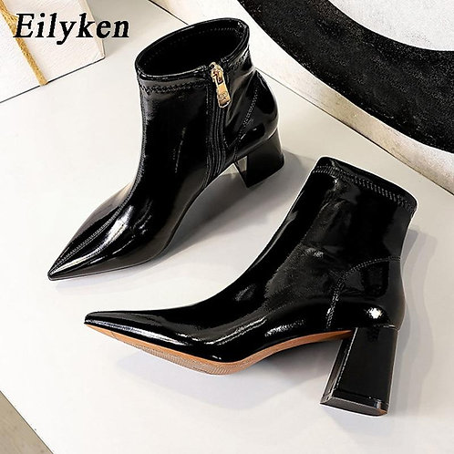 Eilyken High Quality Concise Smooth Patent Leather Pointed Toe Women Winter Shoe