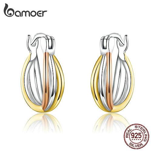 bamoer Real 925 Sterling Silver Bicolor Earrings for Women Statement Fine Jewelr