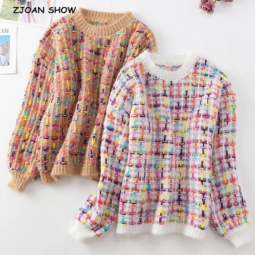 2020 Autumn Contrast colore Weave Plaid Knitted Sweater Streetwear Woman Round C