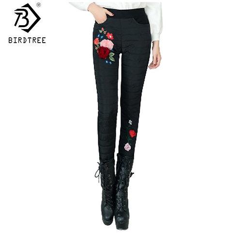 2020 Winter Print Women Down Pants Slim Pencil Trousers Pockets Warm Elastic Wai