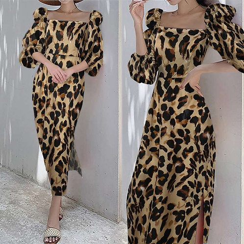 Celmia French Sexy Leopard Print Dress Women Elegant Puff Sleeve Slit Mid-calf V
