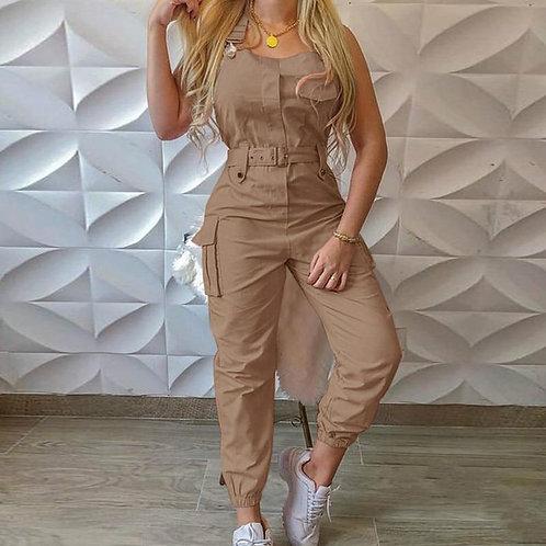 Women Jumpsuit Casual Fashion Sleeveless with Waist Belt Pockets Summer Autumn G