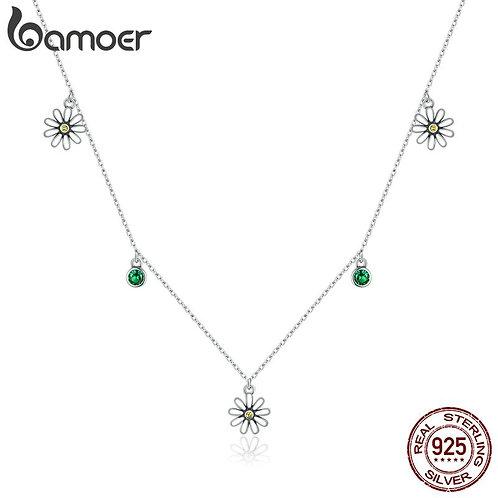 bamoer Little Daisy Adjustable Necklace for Women 925 Sterling silver CZ Luxury