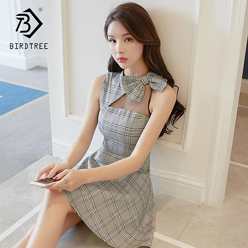2018 Summer New Arrival Women's Dresses A-Line Plaid Sleeveless Off Shoulder Min