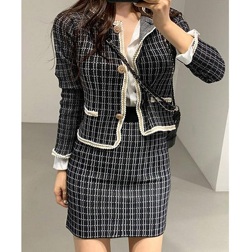 Spring Autumn Women's Coat Korean Retro Style Plaid Short Long Sleeve Coat New S