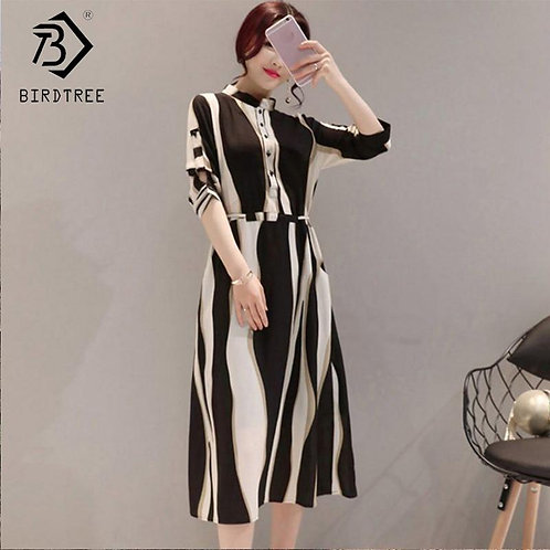 2018 Summer Korean Style Women Stand Collar Striped Fashion Casual Elegance Swee