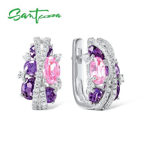 SANTUZZA Silver Earrings For Women Authentic 925 Sterling Silver Shimmering Amet
