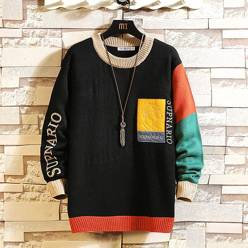 2021 New Sweaters Men'S Black Patchwork Long Sleeves Autumn Winter Pullove