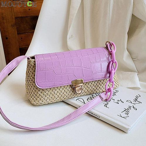 Classic Texture Fashion Women Straw Handbag Creative Design Chic Woven Knit Spli