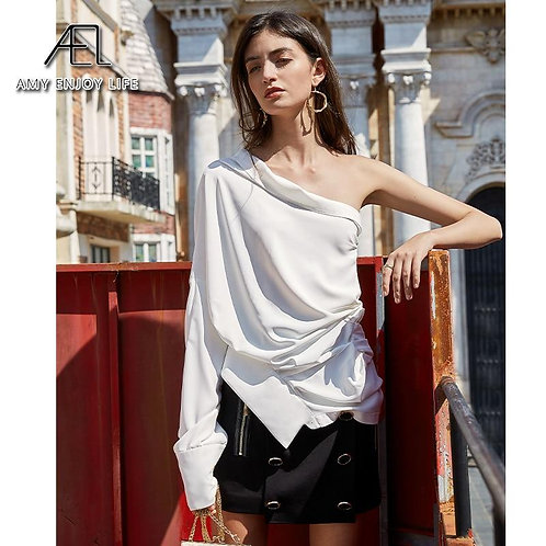 AEL casual white blouse women fashion Asymmetry ladies summer tops 2020 new loos