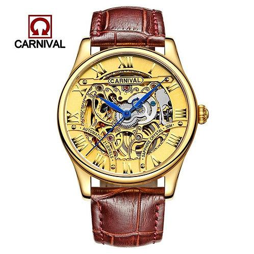 CARNIVAL Hollow Engraving Skeleton Casual Designer Golden Case Watches Men Fashi