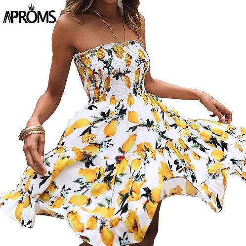 Aproms Yellow Fruit Floral Print Short Dress Summer Ruffle Off Shoulder Dresses