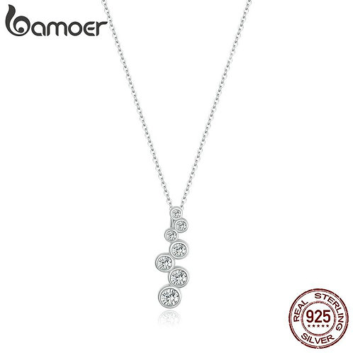 bamoer 925 Sterling Silver Luxury Chain Sparkle Bubbles Necklace for Women Jewel