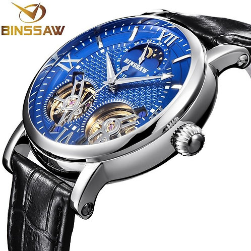 BINSSAW Double Tourbillon Automatic Mechanical Men Watch Fashion Luxury Brand Le