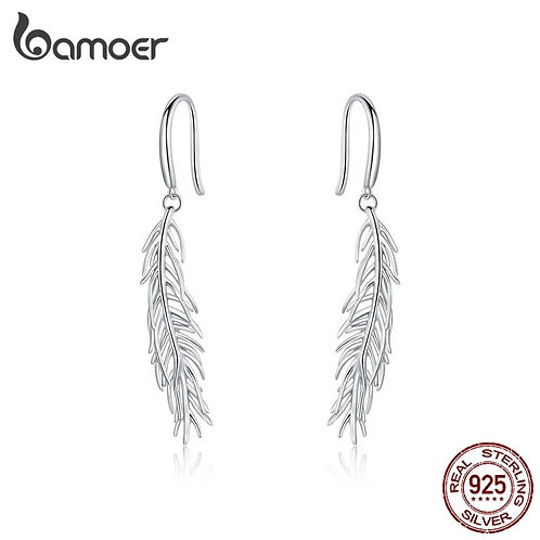 bamoer Genuine 925 Sterling Silver Rainbow Color Light Feather Stud Earrings for