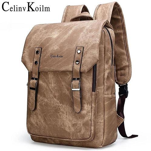 """Celinv Koilm Anti theft Men 15.6"""" Laptop School Bag Men Leather Backpacks Travel"""