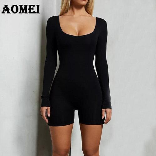 Women Bodysuit Jumpsuit Slim Long Sleeve Black Sexy Elastic Sheath Lady 2020 New