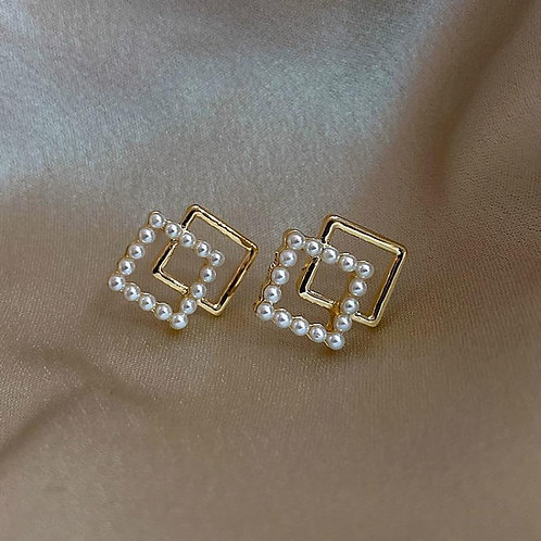 2020 New Arrival Trendy Simple Geometric Simulated-pearl Stud Earrings For Women