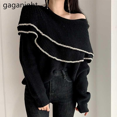 Gaganight Lurex Women Double Ruffles Sweater Casual Loose Sweet Girls Pullover S